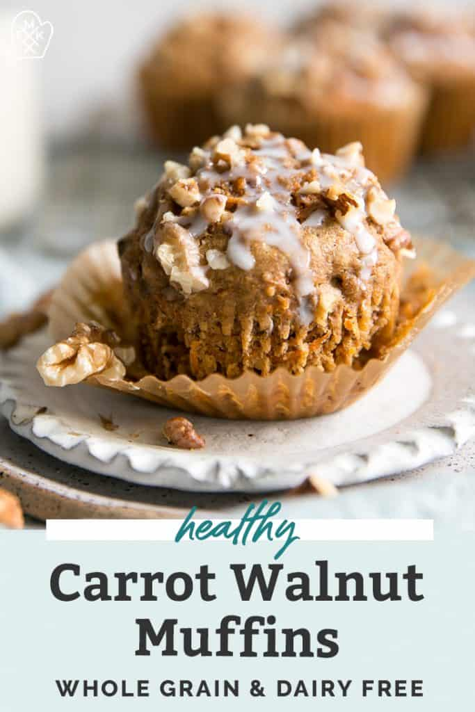 Healthy Carrot Muffins with walnuts o white plate pinterest