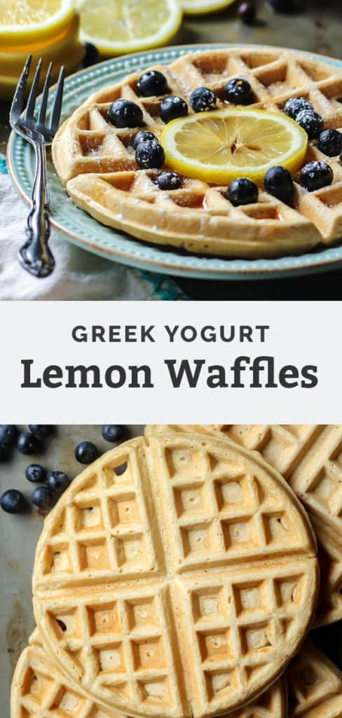 waffles with lemon slice and blueberries on blue plate with fork painters