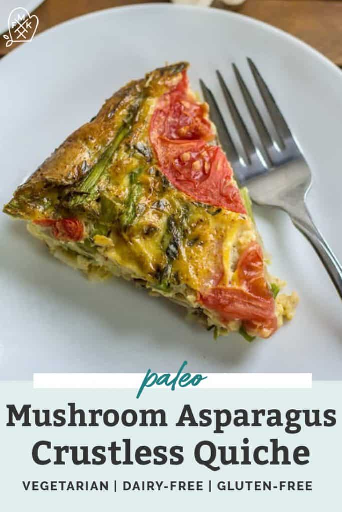 Mushroom Asparagus Crustless Quiche on a white plate pinterest