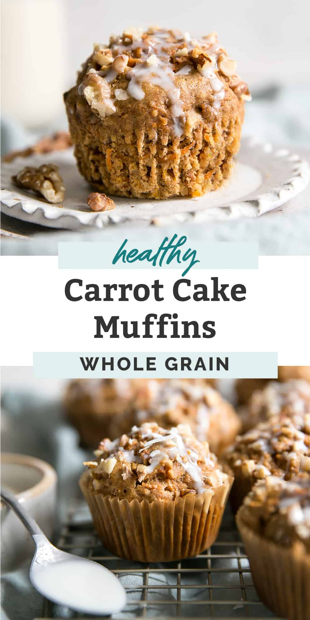 Healthy Whole Grain Carrot Muffins with walnuts on white plate pinterest