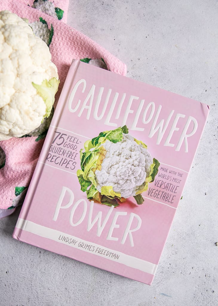 cauliflower power cookbook with pink towel