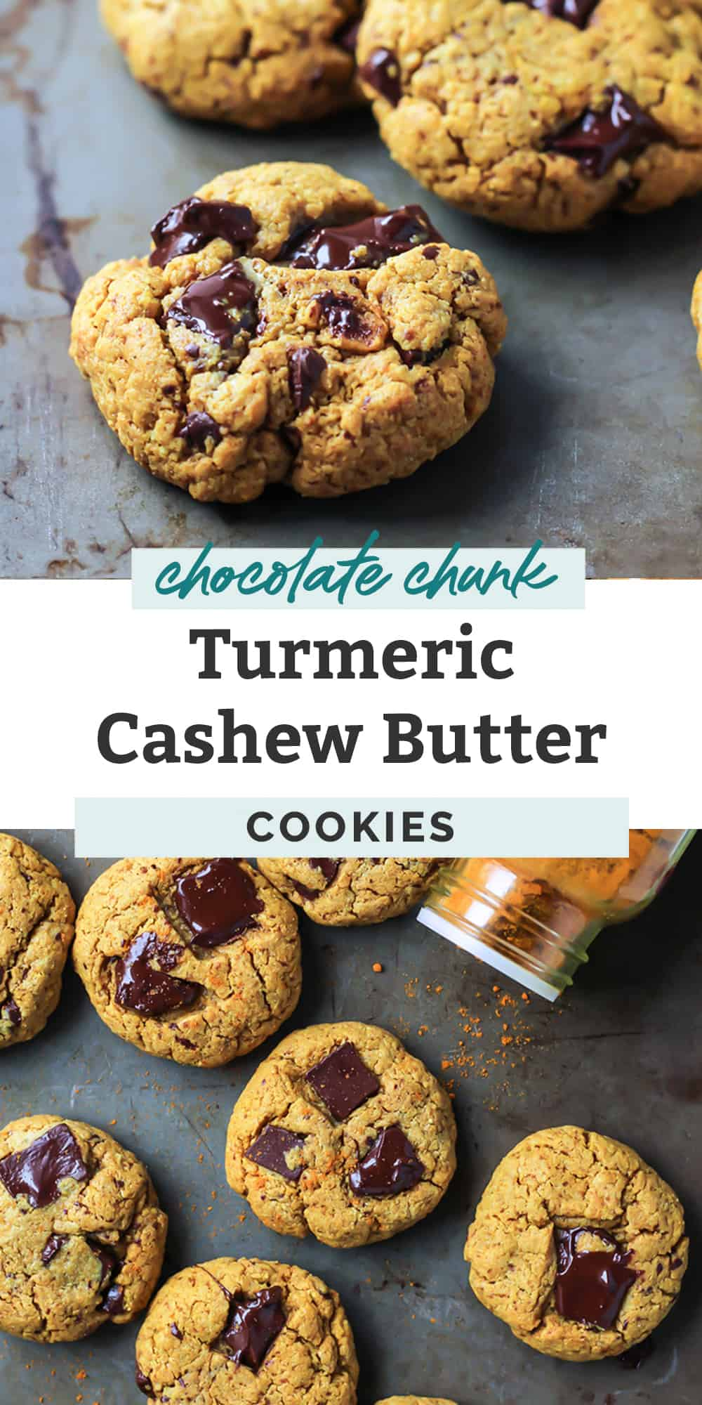 Chocolate Chunk Turmeric Cashew Butter Cookies with tumeric spice shaker on cookie sheet pinterest