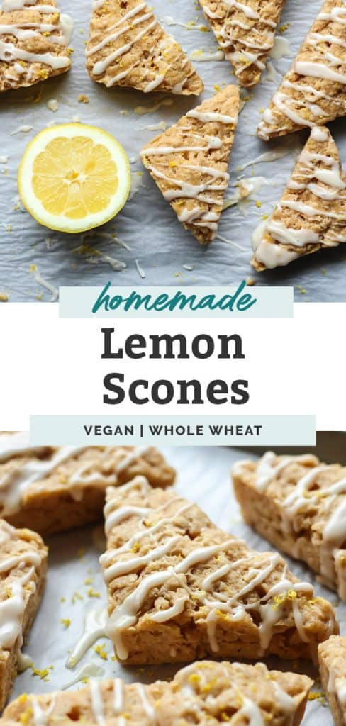 Whole Grain Vegan Lemon Scones with Lemon Glaze on blue plate pinterest