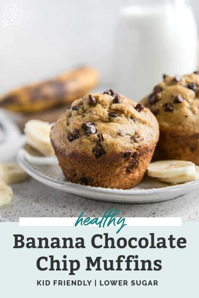 healthy banana chocolate chip muffin on plate
