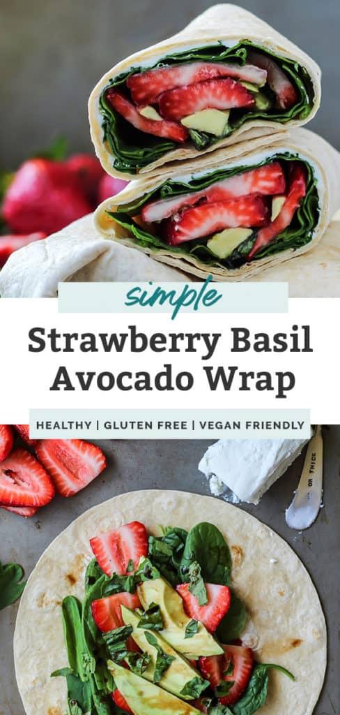 gluten free vegan friendly Strawberry Basil Avocado Wrap fitmittenkitchen.com
