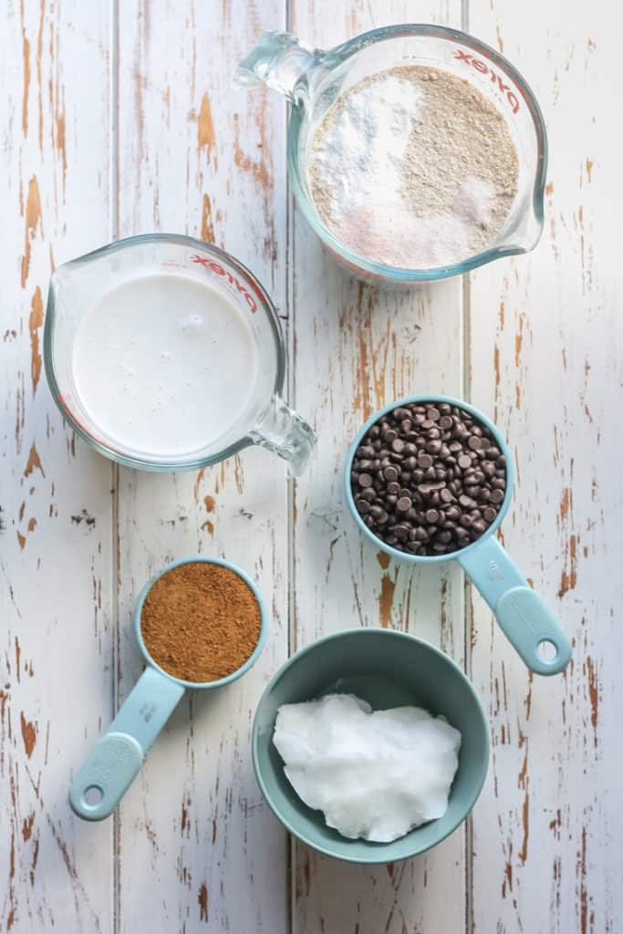 chocolate chips, coconut milk, flour, coconut oil