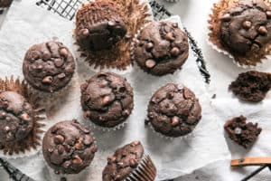 chocolate muffins on parchment paper