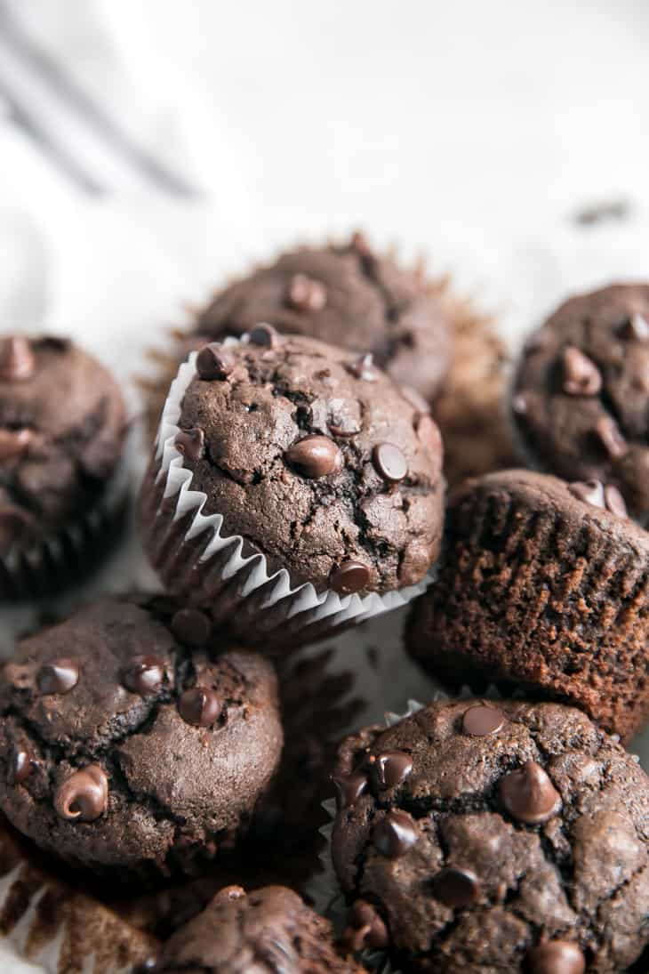 tipped double chocolate muffin pile