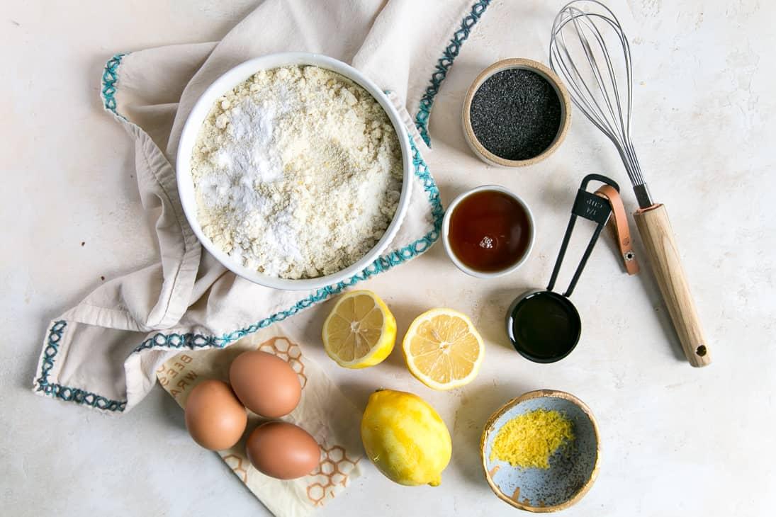 flour, lemons, zest, eggs and poppy seeds