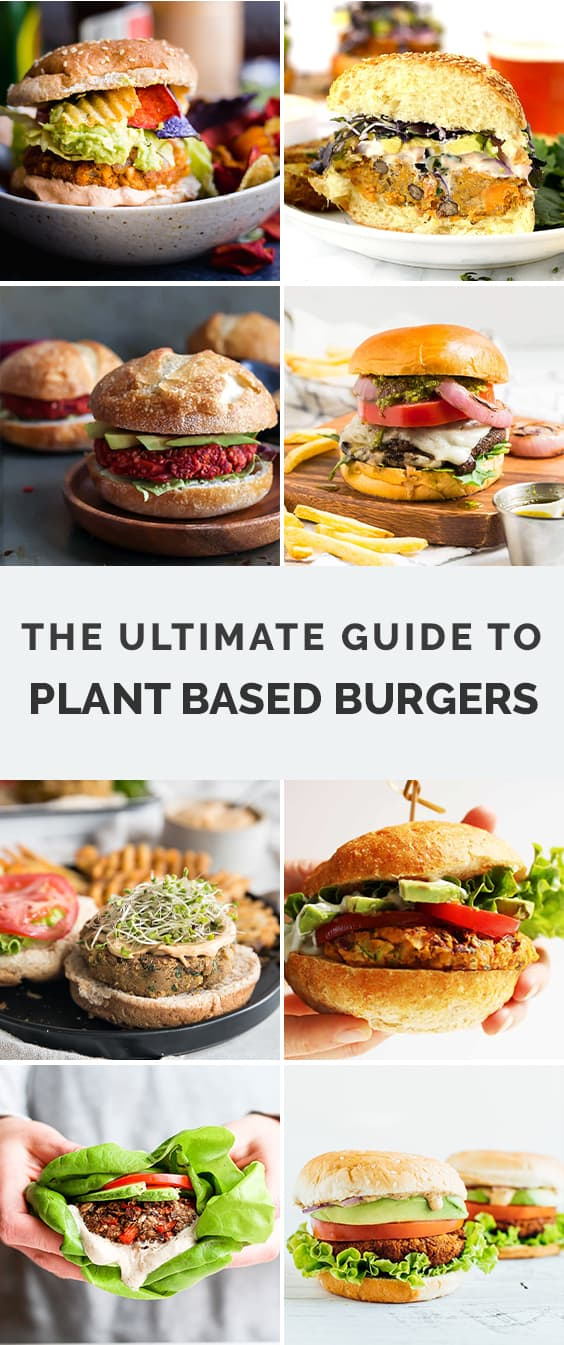 collage of plant based burgers
