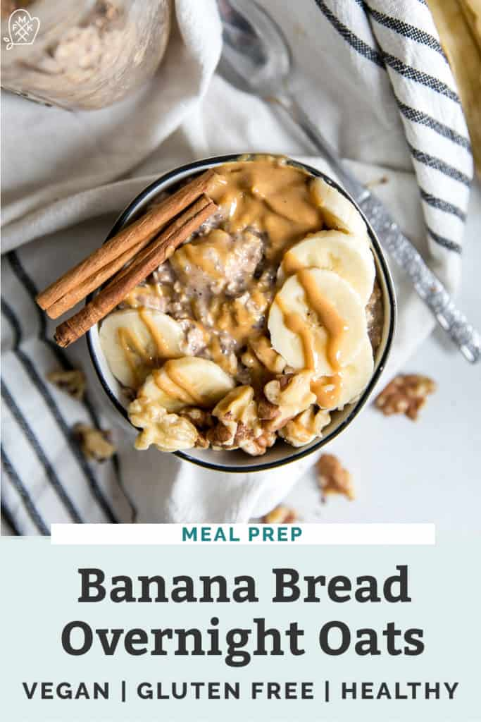 bowl of overnight oats with bananas and peanut butter on dish towel