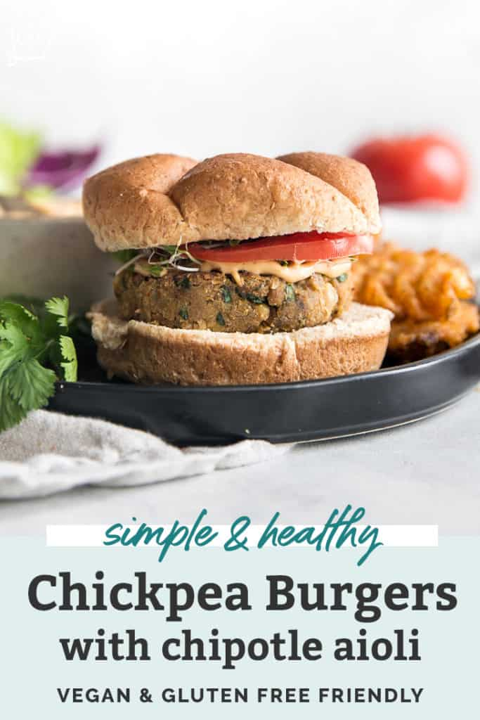 Easy Chickpea Burgers with Chipotle Aioli pinterest
