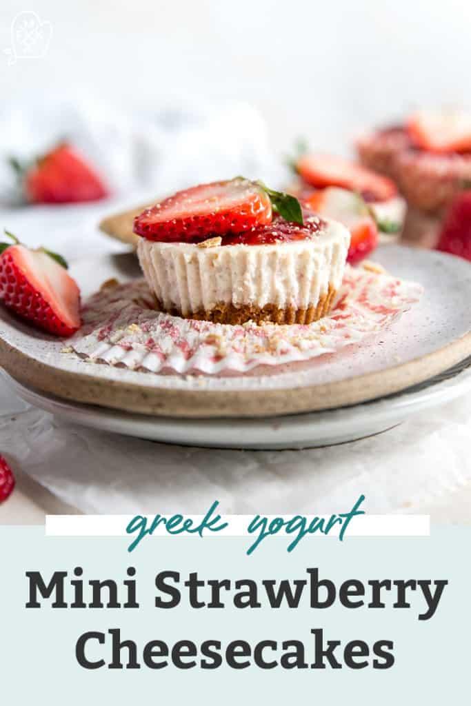 Healthier Mini Strawberry Cheesecakes on grey plate pinterest