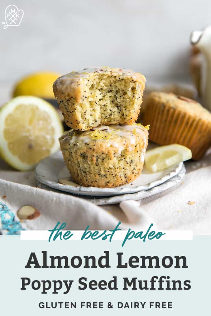 stacked paleo lemon poppy seed muffins on plate