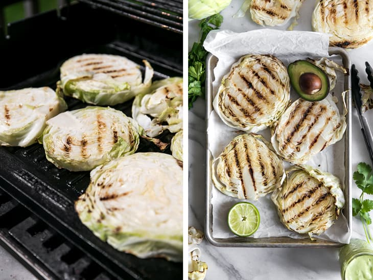 grilled cabbage on grill with avocado lime sauce and cilantro