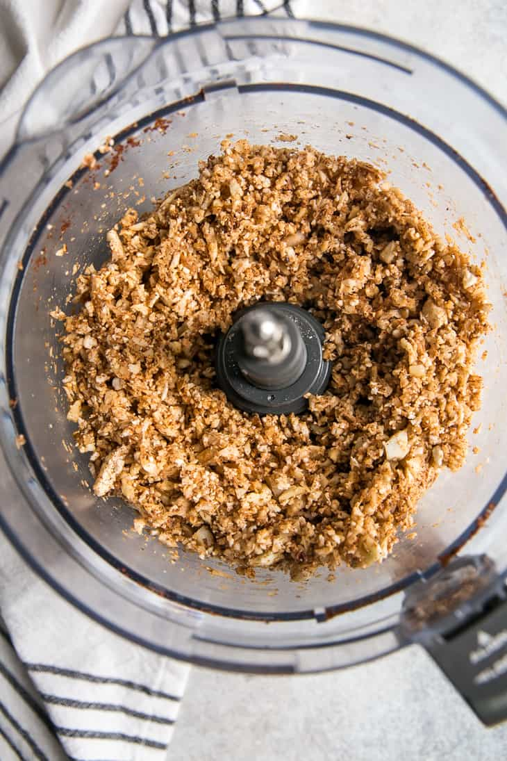 Ingredients for Walnut Taco Meat in food processor cauliflower walnuts spice