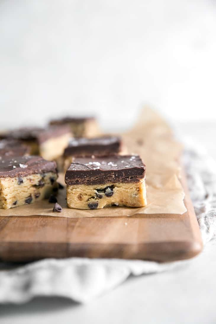 chocolate chip cookie dough bar with chocolate topping
