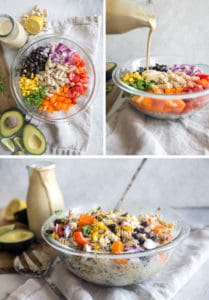 pasta salad ingredients in glass bowl