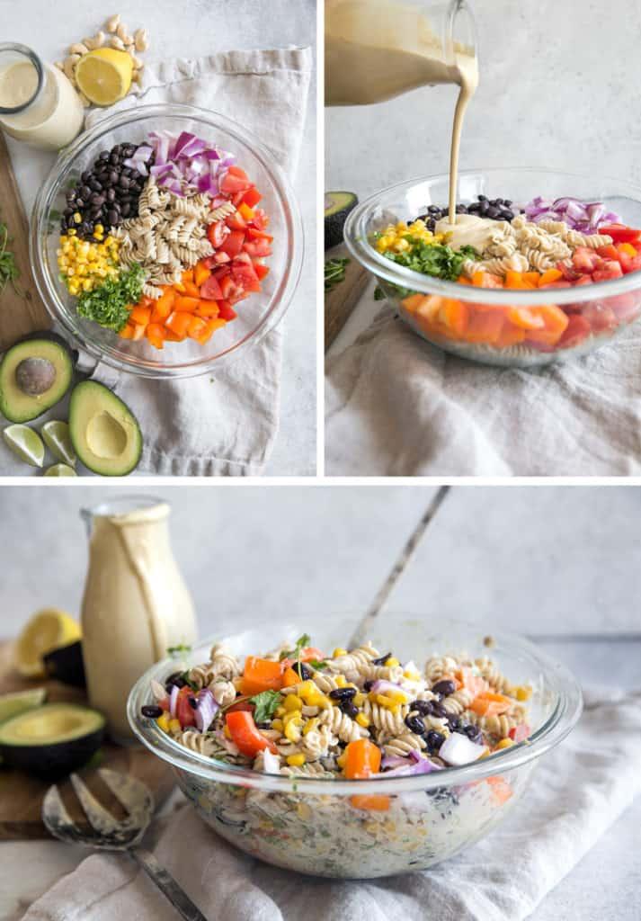 pasta salad ingredients in glass bowl