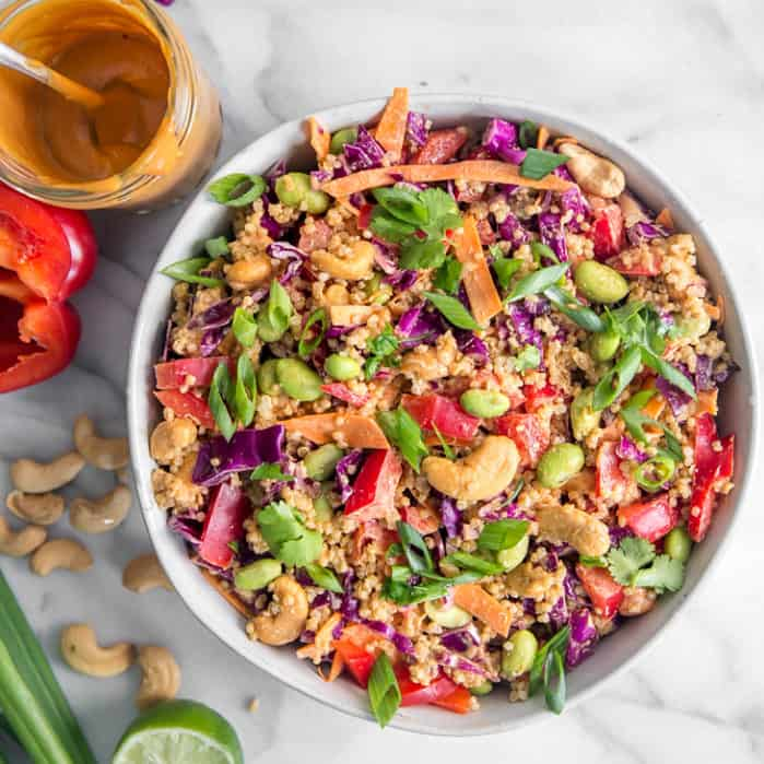 thai quinoa salad with cashews in bowl
