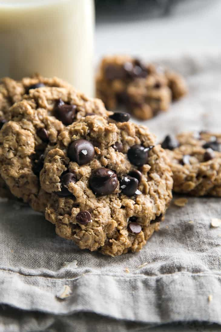 closeup of oatmeal chocolate chip cookies