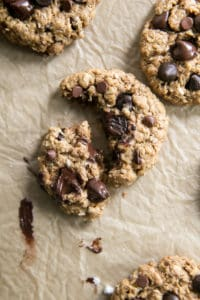 broken oatmeal chocolate chip cookie