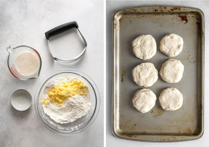vegan biscuits on baking sheet