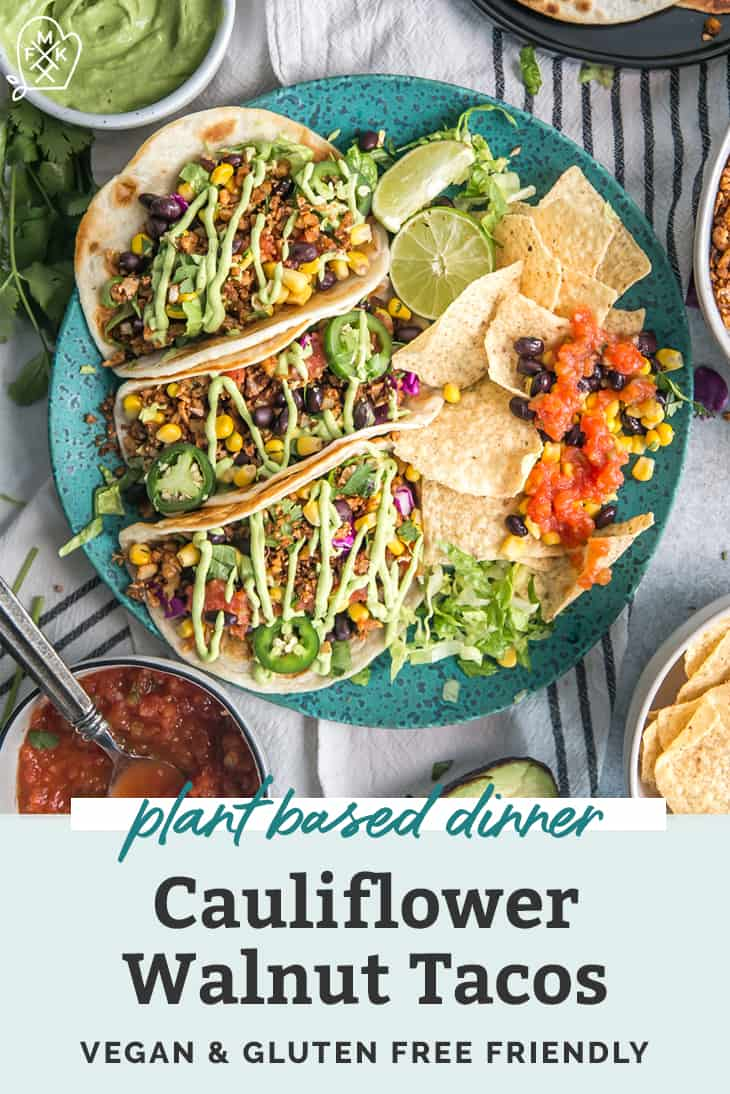 Cauliflower Walnut Tacos with Avocado Lime Crema pinterest
