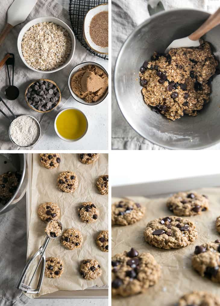 process for how to make oatmeal chocolate chip cookies