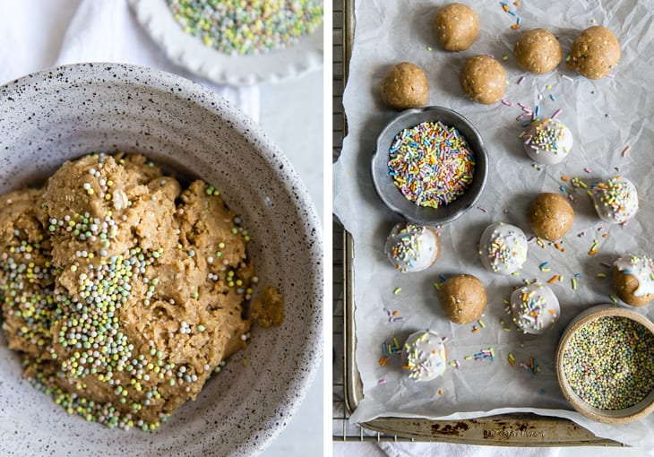 healthy cake bites being made on parchment paper with a bowl of sprinkles