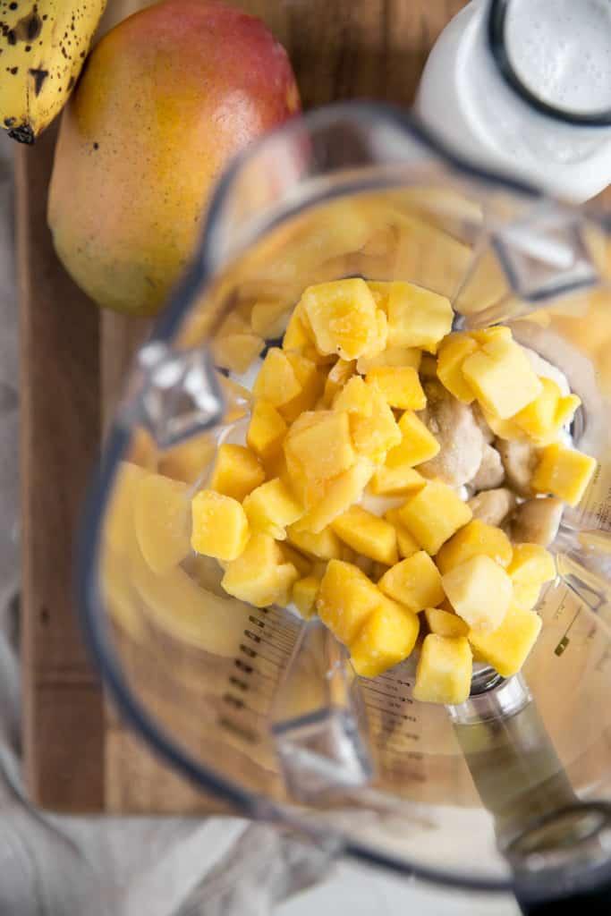 mango and banana in a blender
