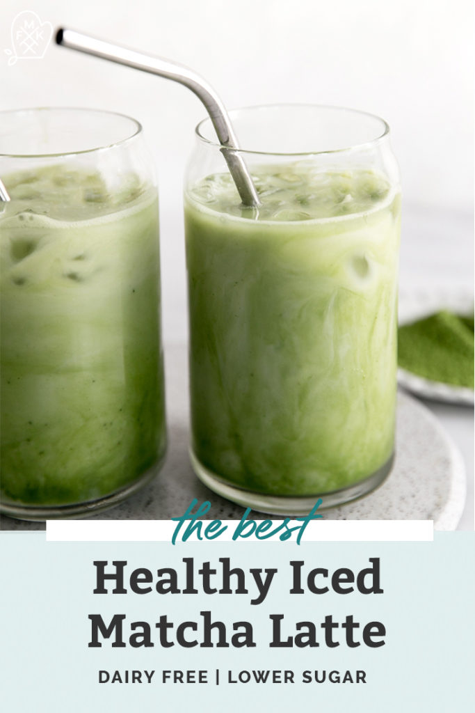 iced green tea in a modern glass with a metal straw pinterest graphic