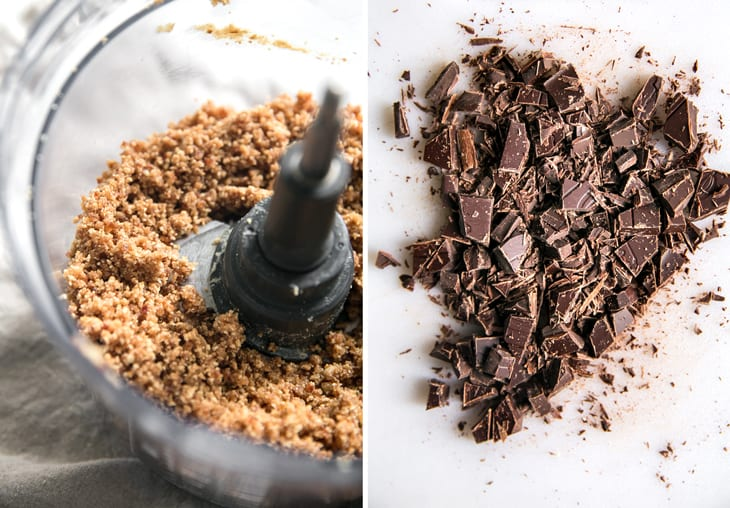 food processor bowl and chopped chocolate