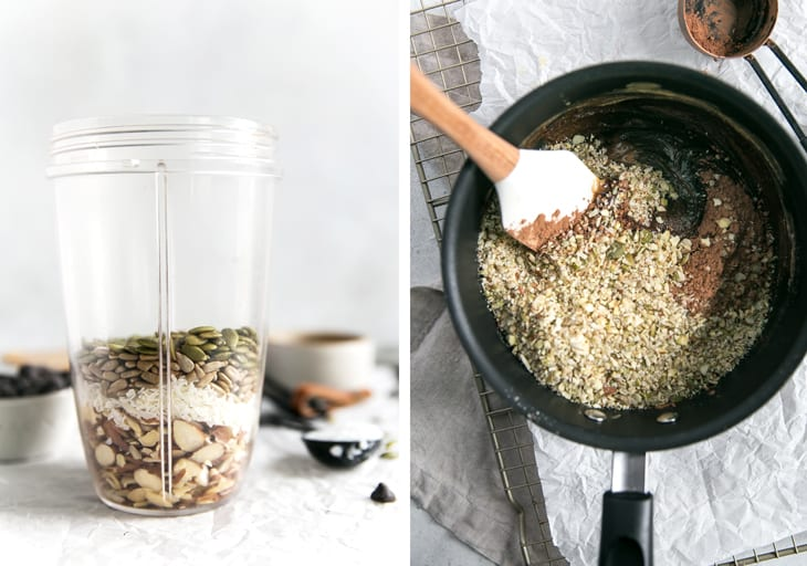 Oats, seeds and notes in a blender up, then being stirred in a sauce pan