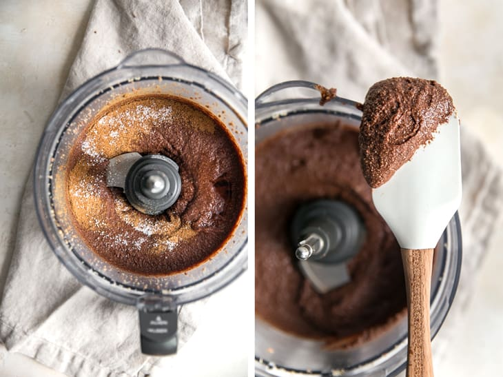 chocolate hazelnut spread in a food processor with a spatula