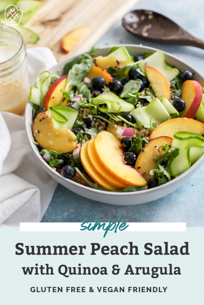 bowl of salad greens for peach salad with zucchini ribbons pinterest