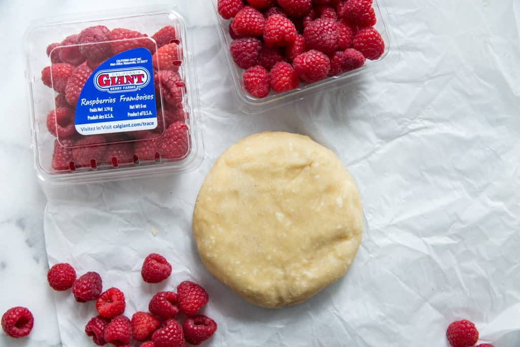 pie dough with california giant raspberries