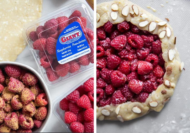 california giant raspberries and unbaked galette