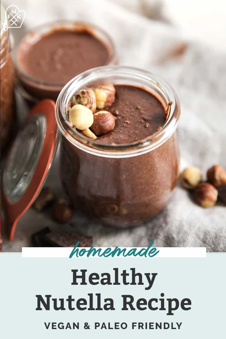 chocolate hazelnut spread in a small glass jar pinterest graphic