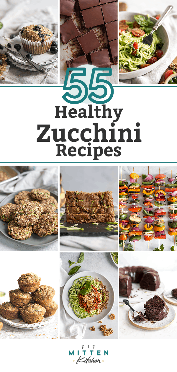 graphic with pictures of multiple recipes including zucchini