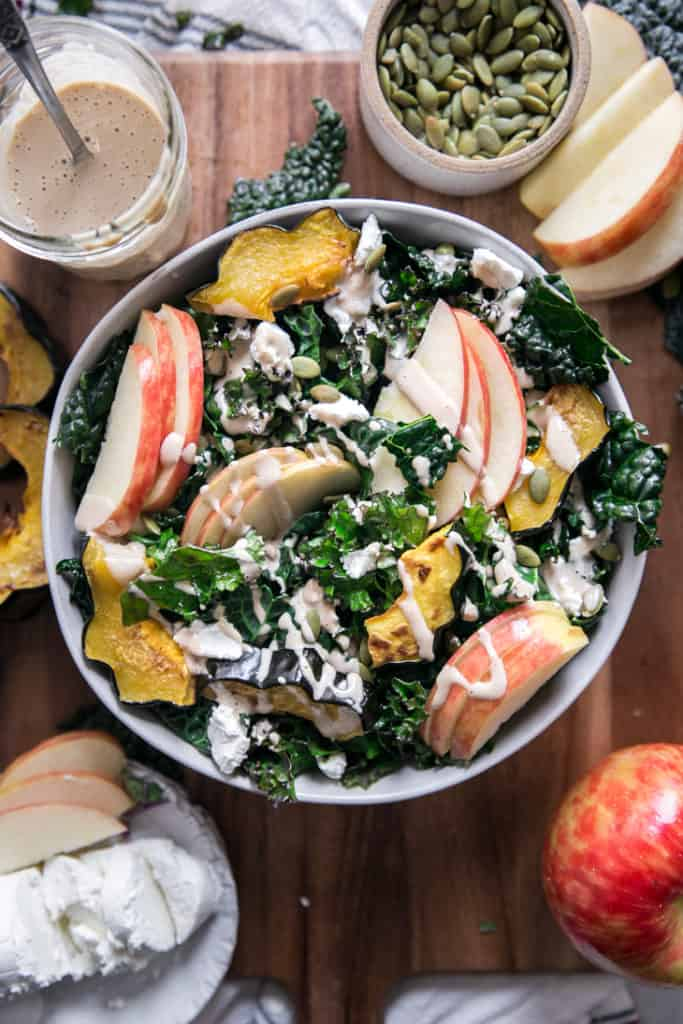kale salad with apples and goat cheese