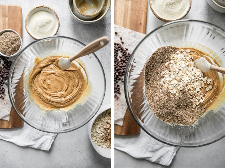 mixing together peanut butter oats and flax in a glass bowl