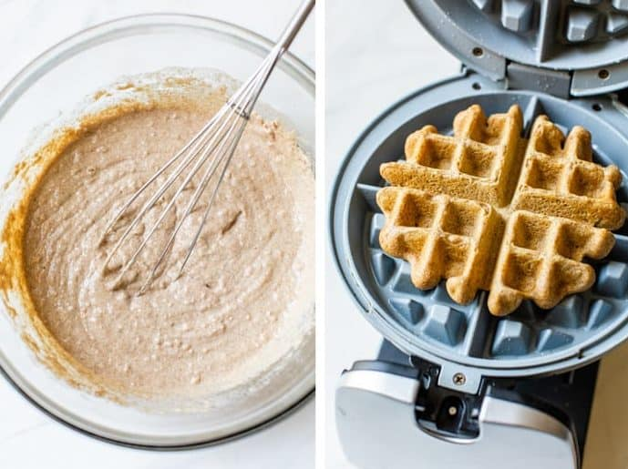 waffle batter in a glass bowl with whisk and waffle in waffle iron