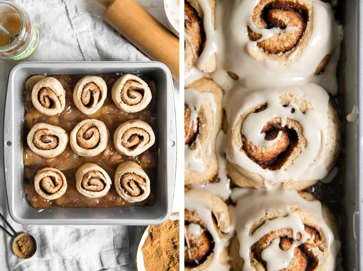 apple pie filling with cinnamon rolls on top in a square pan
