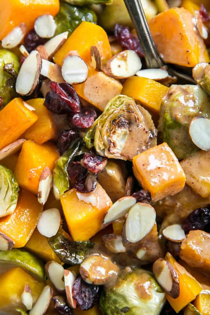 almond butter maple roasted brussels sprouts and squash