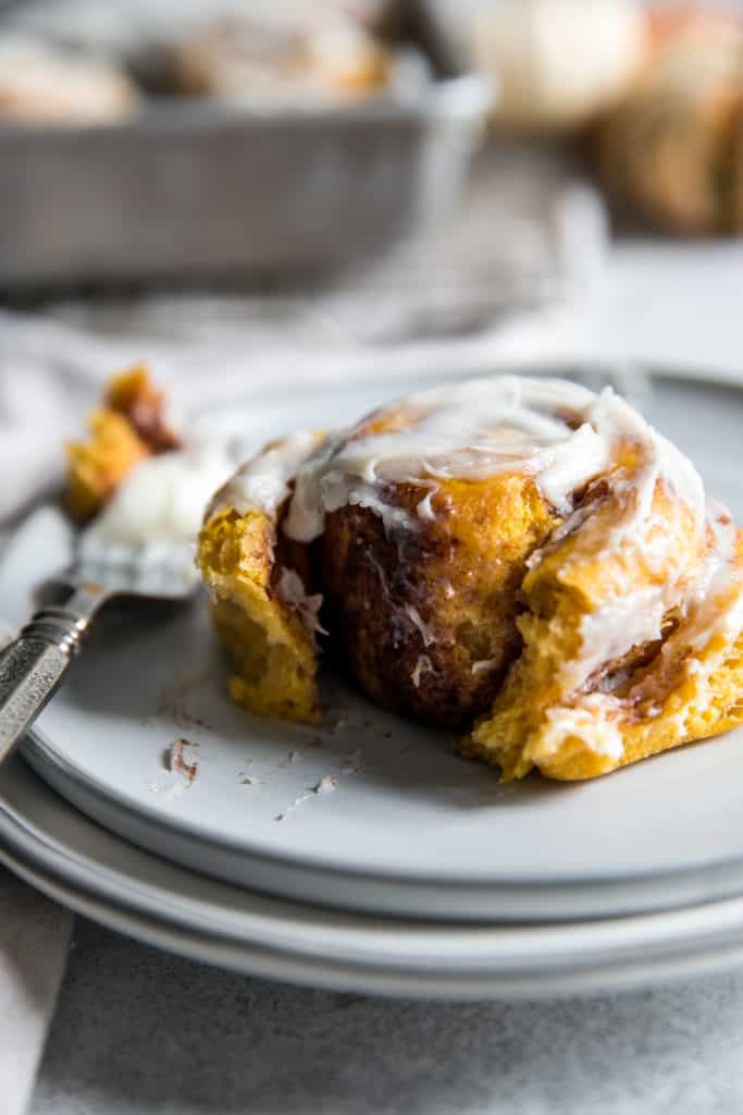 pumpkin cinnamon rolls on plate