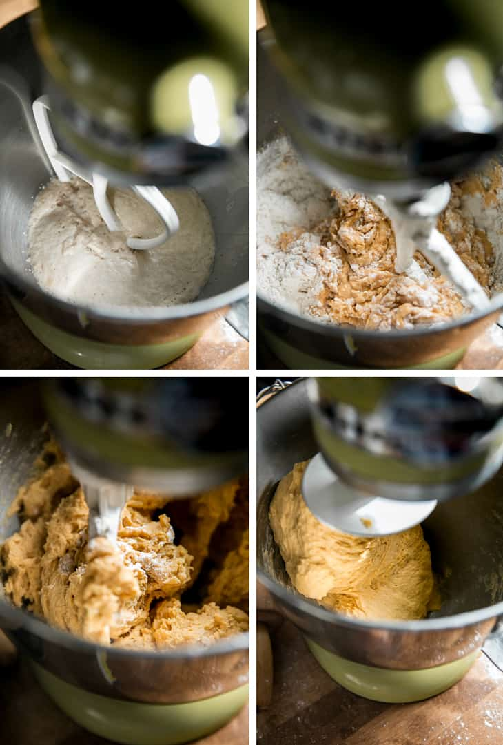 making dough in a kitchen aid mixer