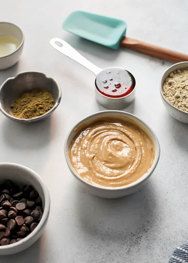 ingredients in small bowls and metal measuring cups