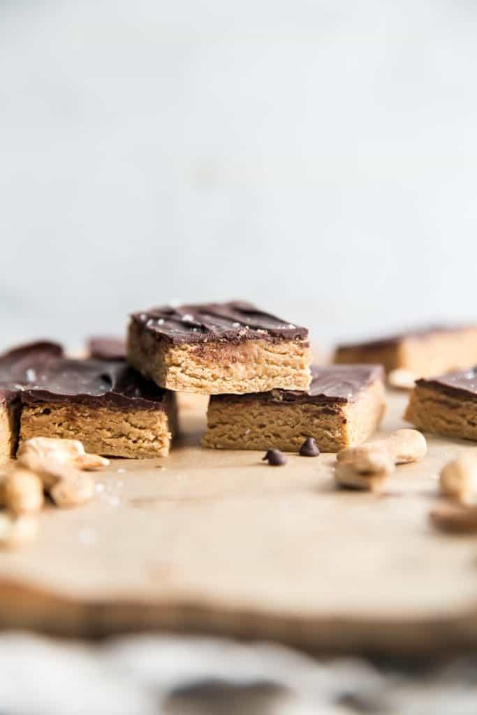 stacked chocolate cashew bars