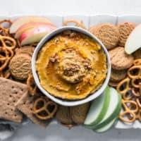 pumpkin pie hummus on tray
